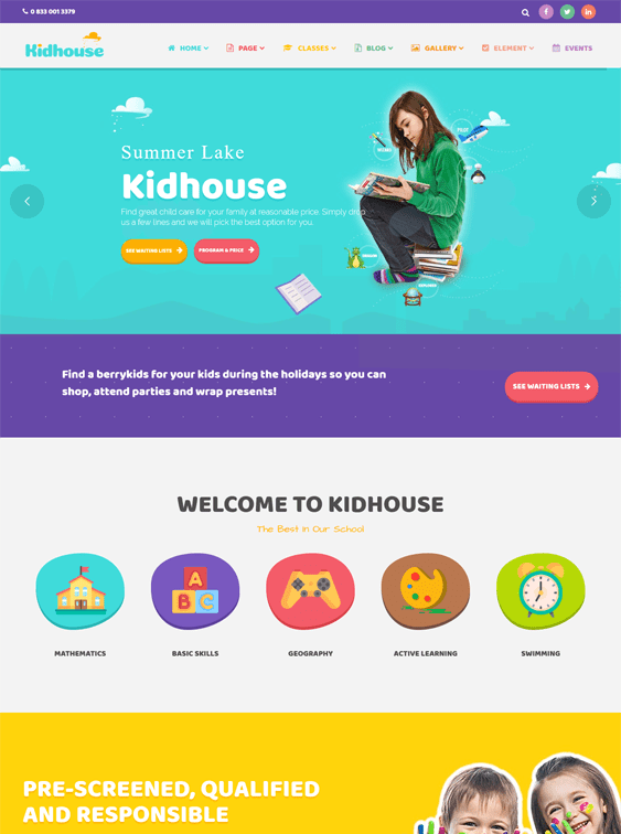 kidhouse kids wordpress themes