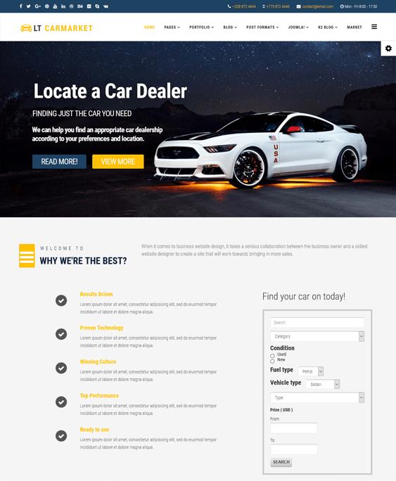 lt carmarket car vehicle automotive joomla templates