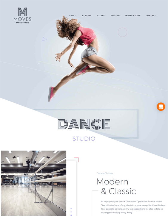 moves WordPress theme for dance schools, classes, and studios