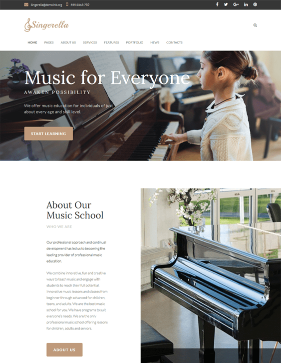 music school education wordpress themes