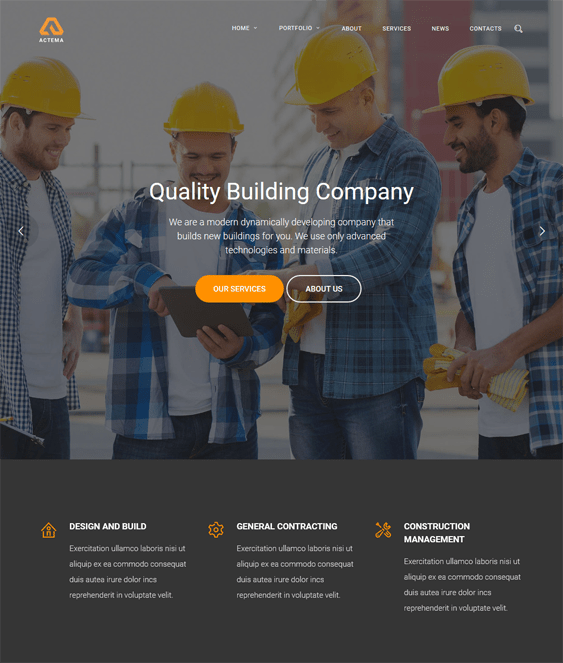 actema construction companies building contractors wordpress themes