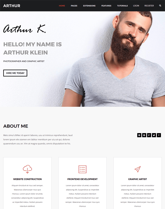 arthur cv resume vcard wordpress themes