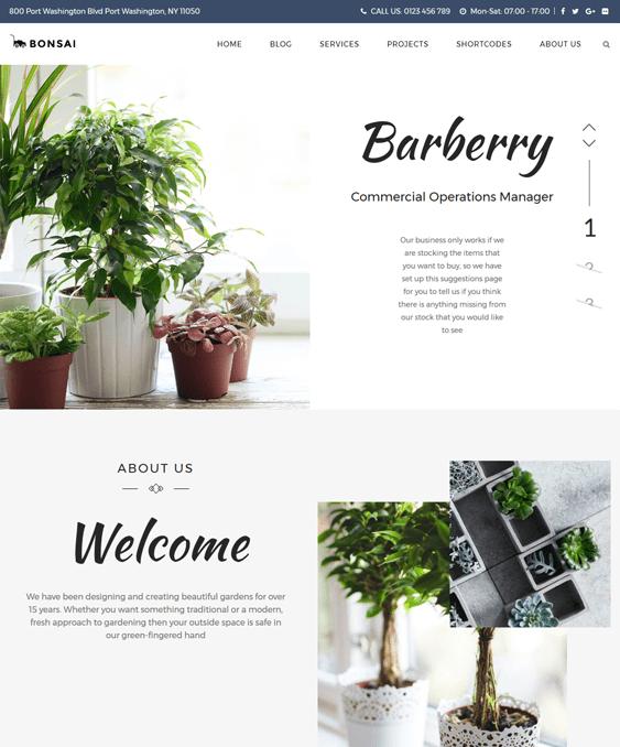 bonsai wordpress theme landscaping landscaper gardeners