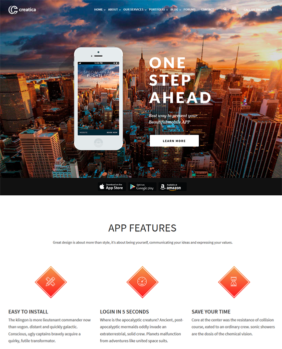 creatica themes promoting apps