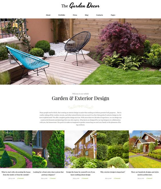 Garden Decor And Exterior Design Responsive wordpress theme landscaping landscaper gardeners