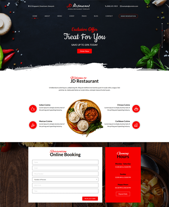 jd restaurant joomla templates