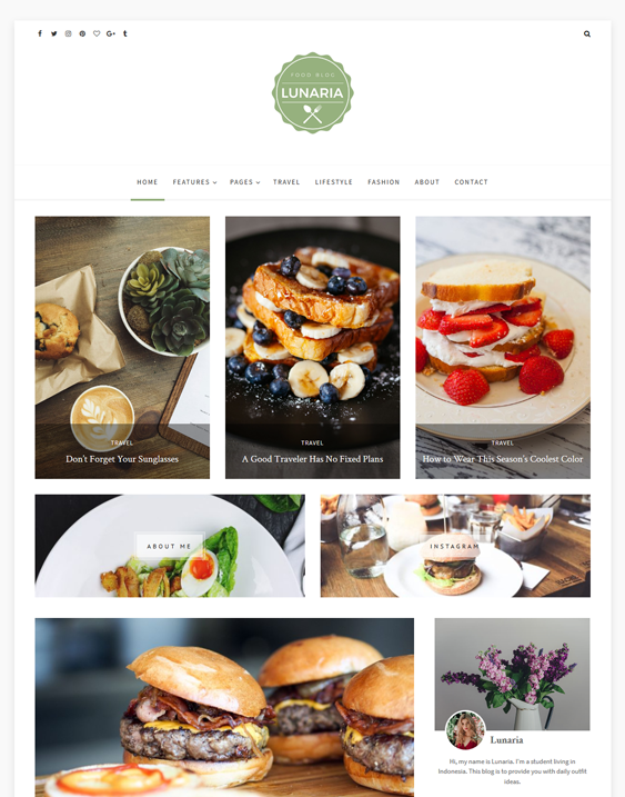 lunaria food recipe wordpress themes