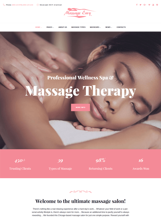 massage beauty salon spa wordpress themes