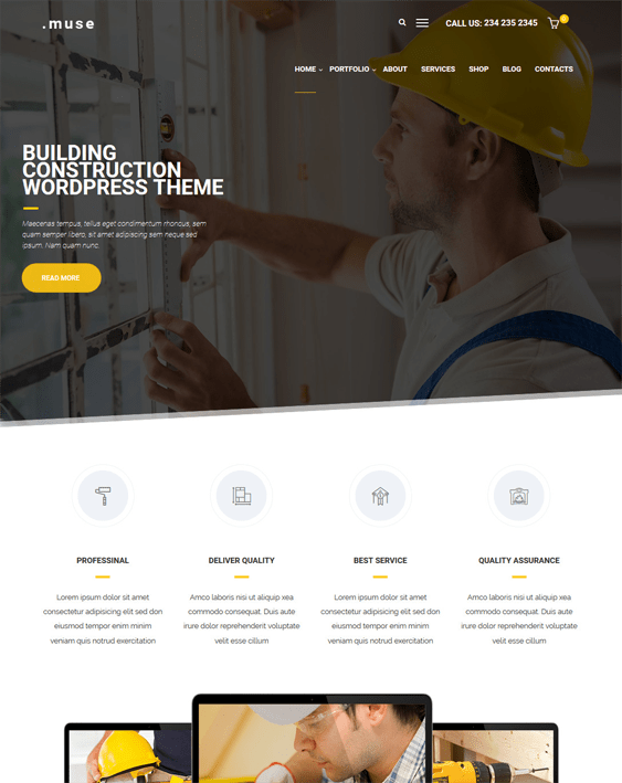 muse construction companies building contractors wordpress themes