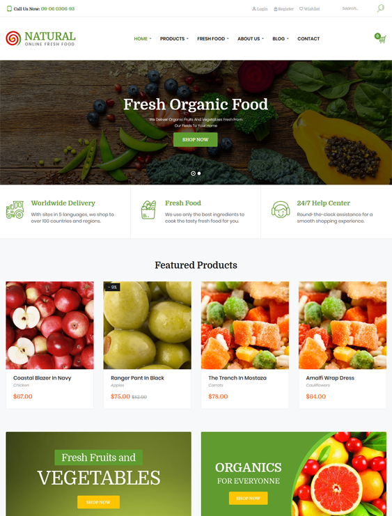 natural food drink wordpress themes