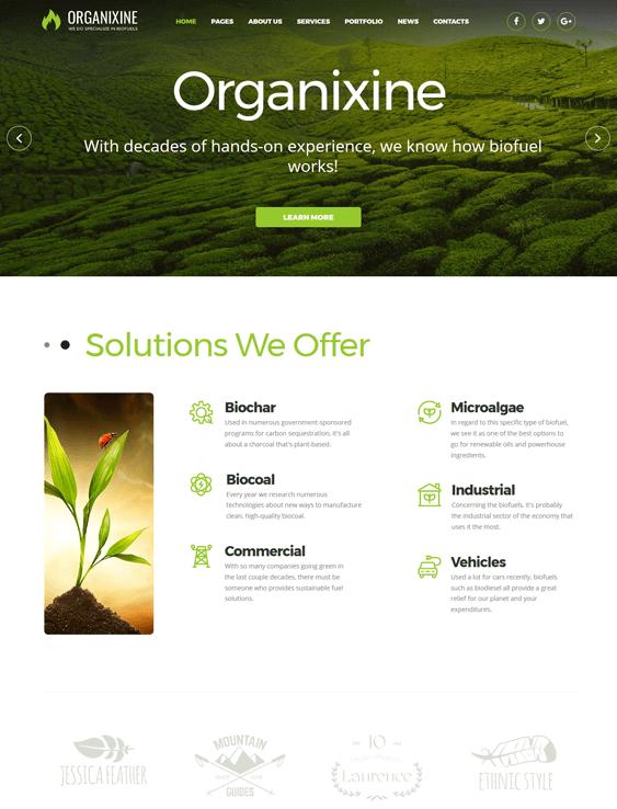 organixine solar energy wind alternative power wordpress themes