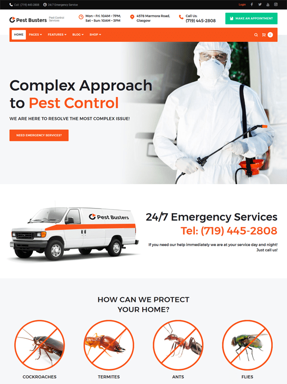 pest control wordpress themes