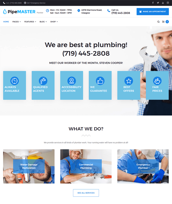 pipemaster construction company building contractors wordpress themes