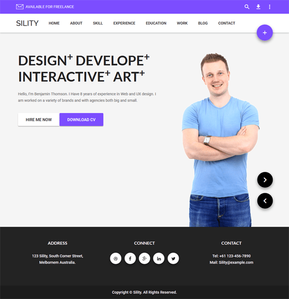 sility cv resume vcard wordpress themes