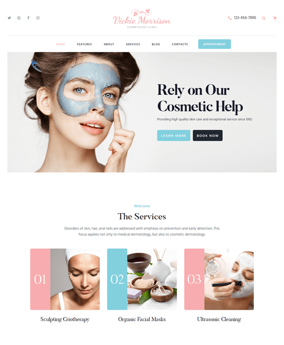 vickie beauty salon spa wordpress themes