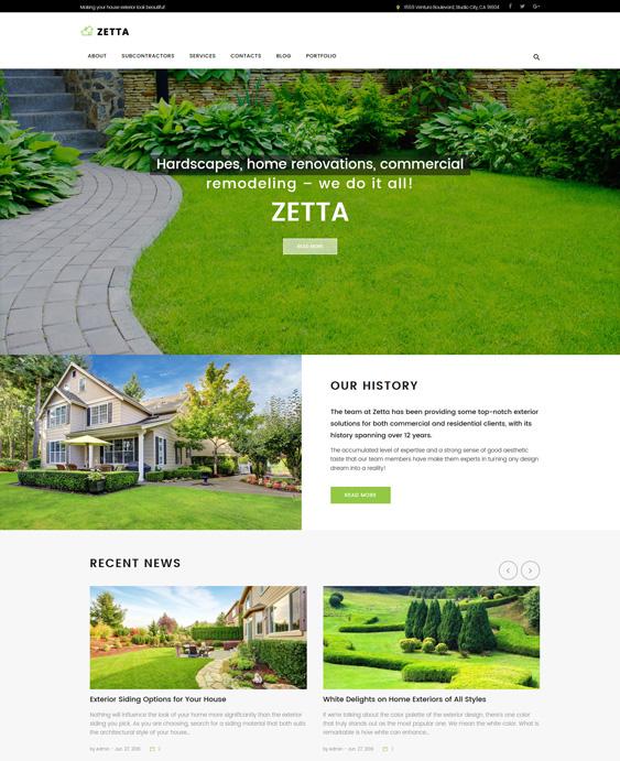 Zetta - Exterior, Garden & Landscape wordpress theme landscaping landscaper gardeners