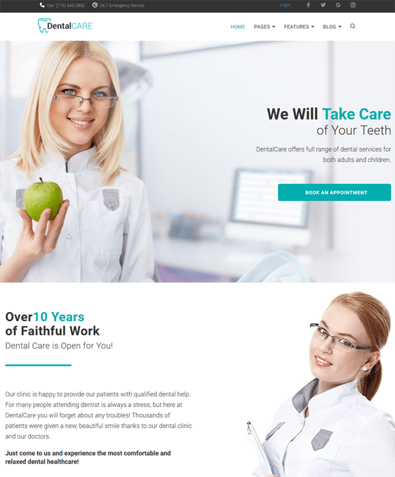 dentalcare medical wordpress themes