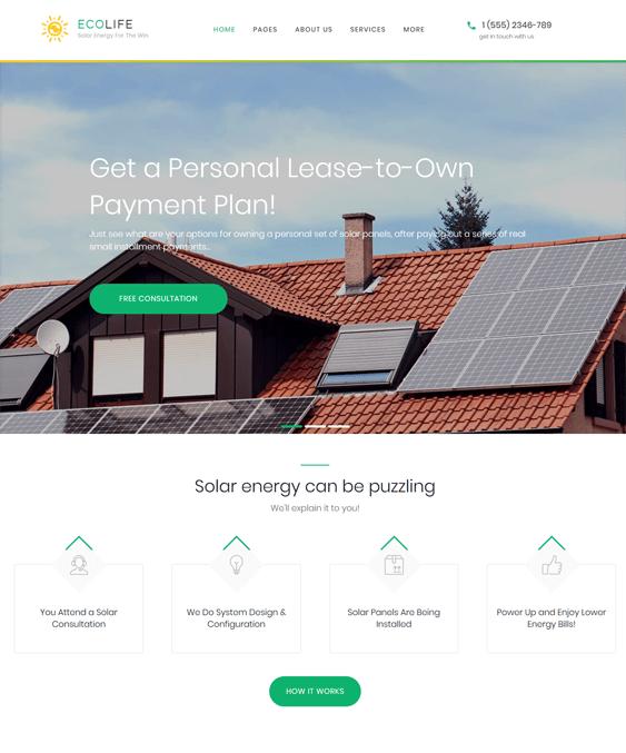 eco life solar energy wind alternative power wordpress themes