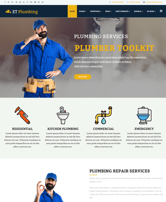 et plumbing joomla templates construction companies building contractors