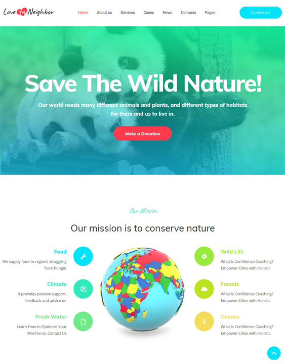 love thy neighbor wildlife park charity wordpress themes
