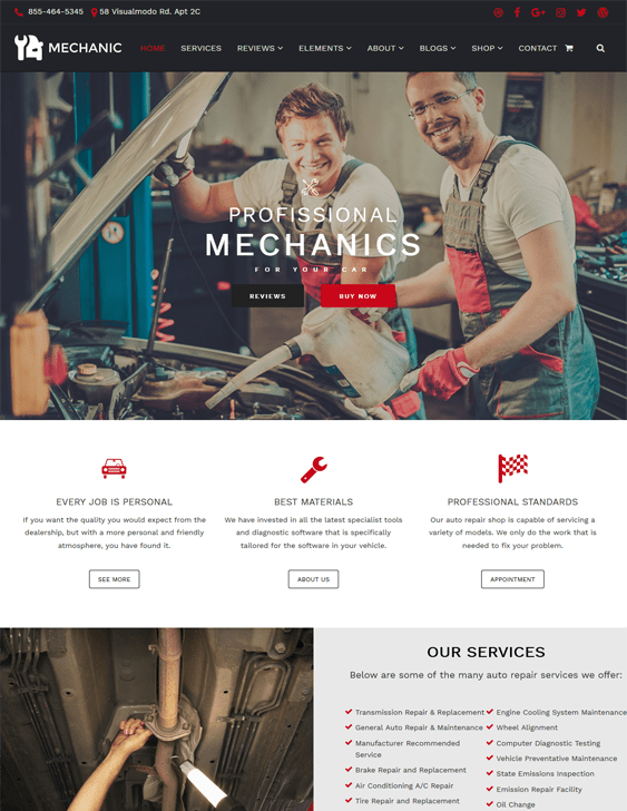 mechanic car vehicle automotive wordpress themes