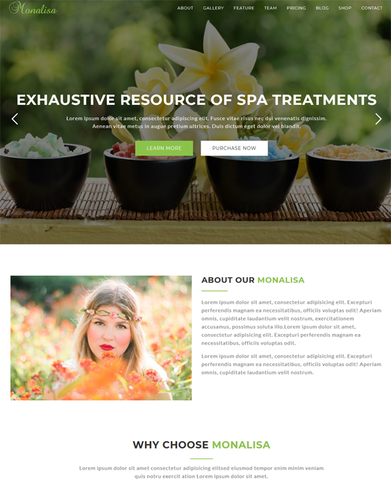 monalisa wordpress themes beauty salons spas