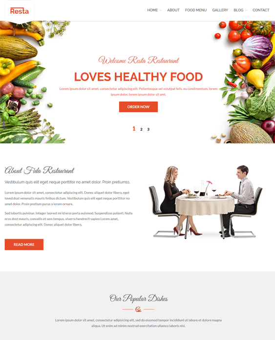 resta restaurant wordpress themes