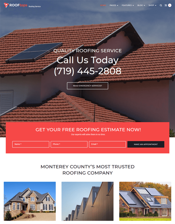 rooftops wordpress themes roofers roofing companies