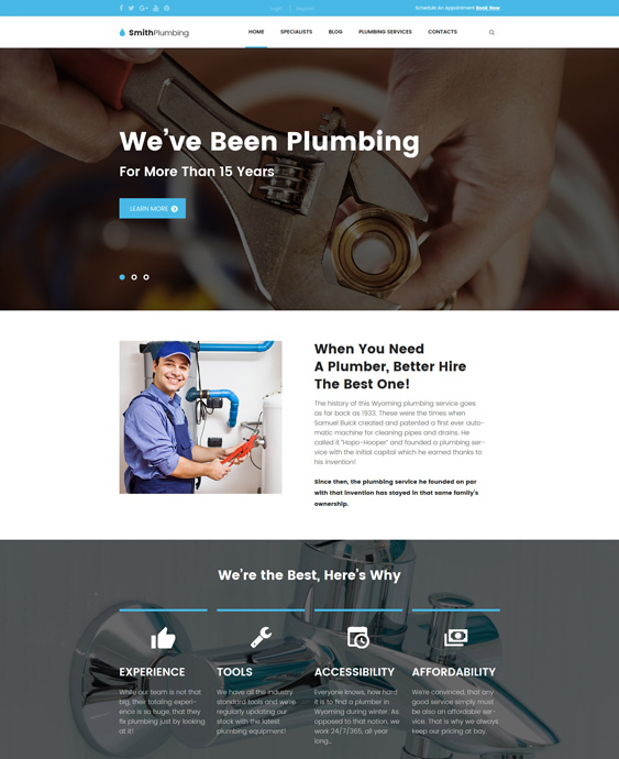SmithPlumbing - Maintenance and plumbing companies plumbers wordpress themes