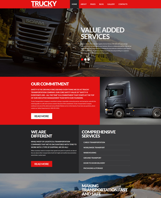 trucky transportation joomla templates