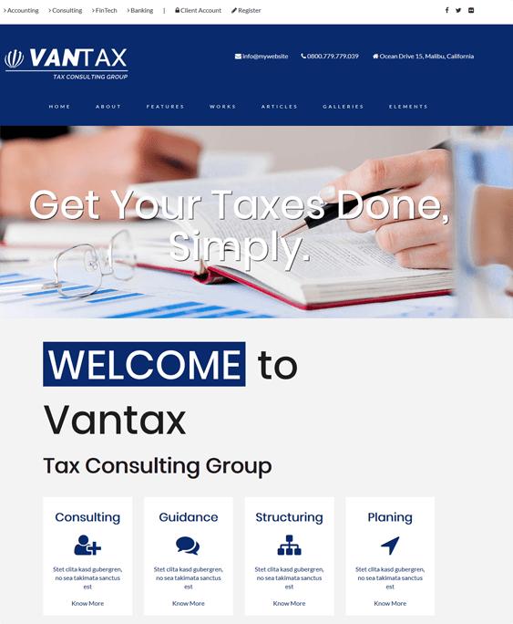 vantax accounting wordpress themes