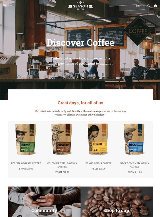 alchemy tea coffee stores shopify themes