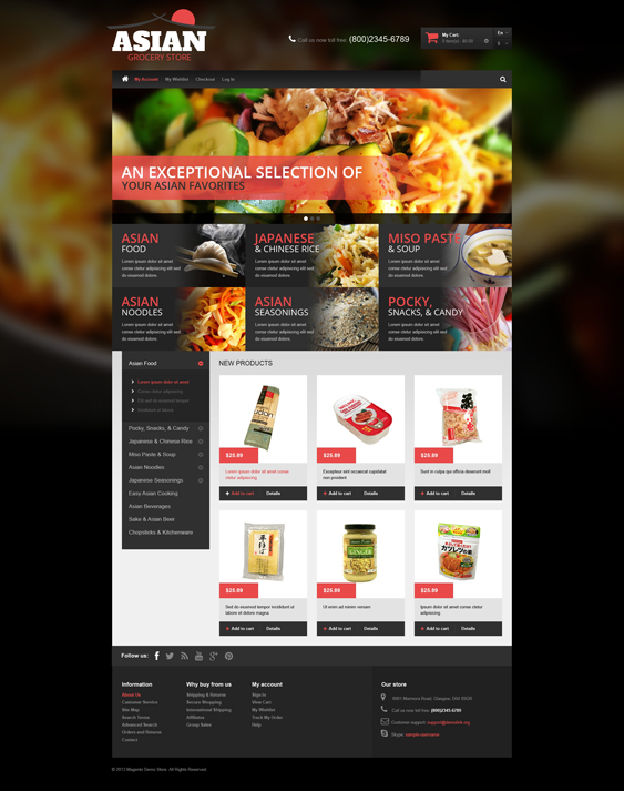 Asian Grocery food store magento themes