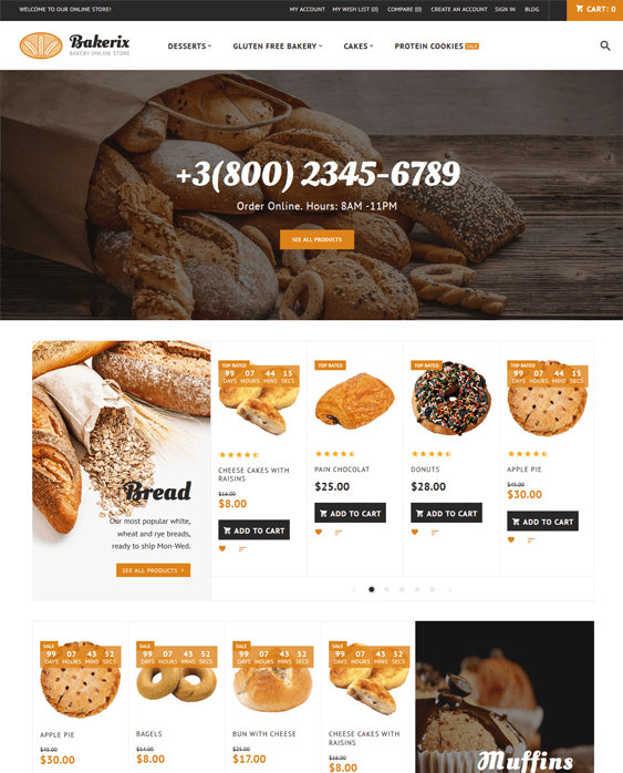 bakerix food store magento themes