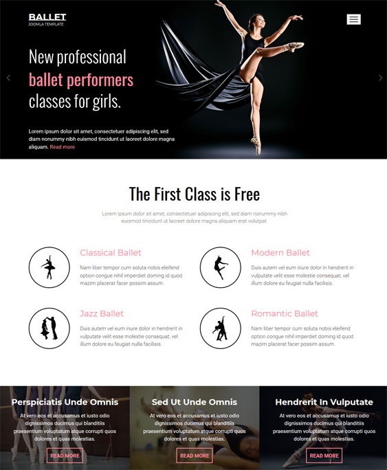 Dance Studio teacher Responsive Joomla Template