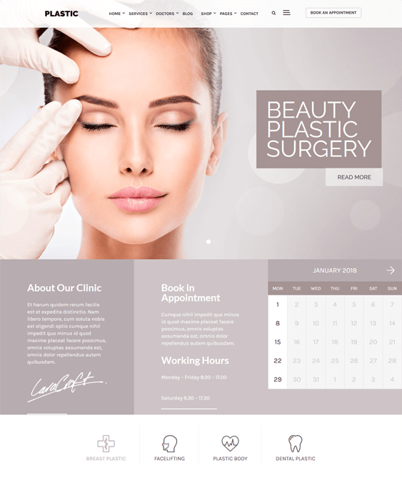 clinic wordpress themes plastic surgeons cosmetic surgery centers