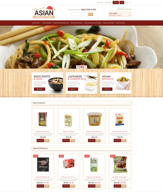 Eastern food store magento themes