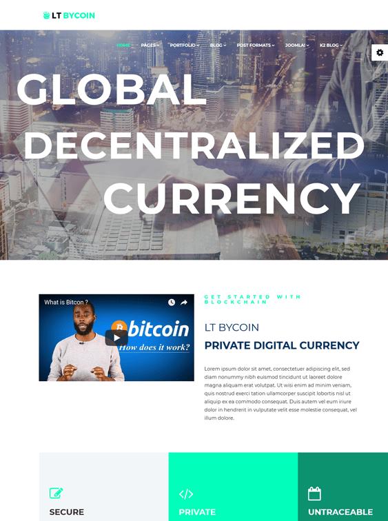 bitcoin cryptocurrency joomla templates
