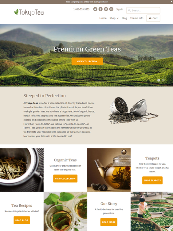 9 of the best shopify themes for tea coffee stores down for Mobilia wordpress theme