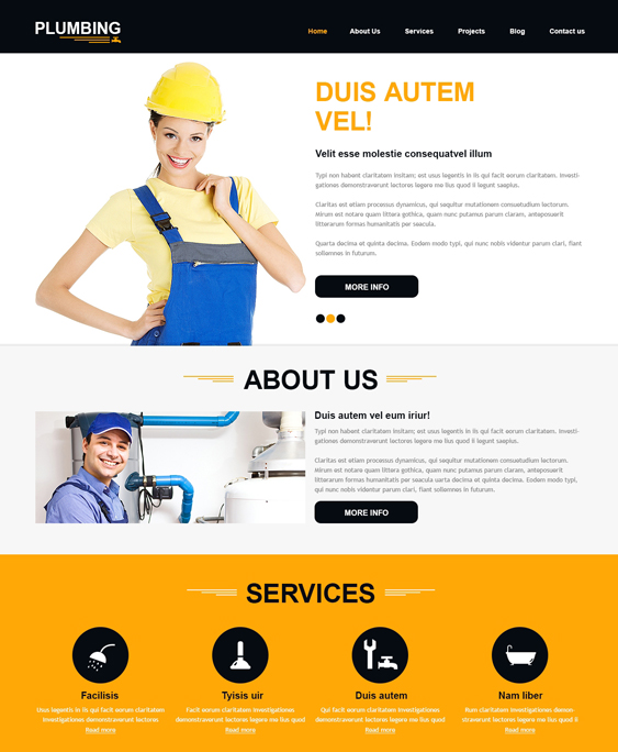 Construction Company joomla template plumbing companies plumbers