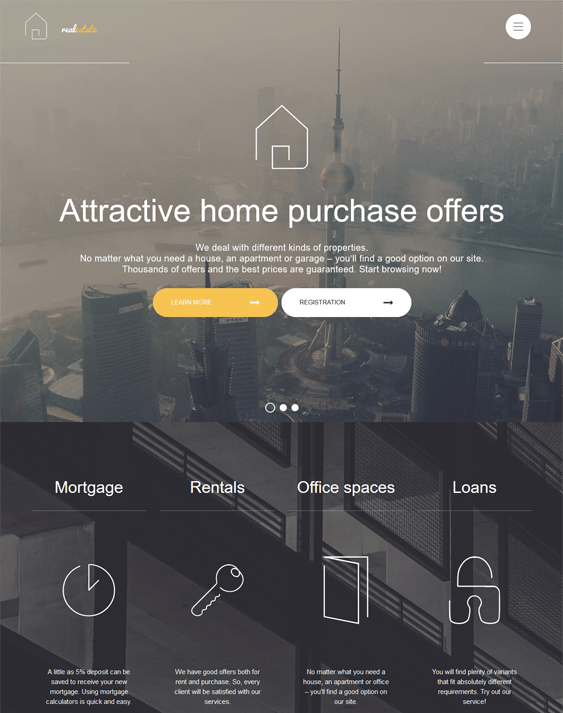 real estate bootstrap website templates