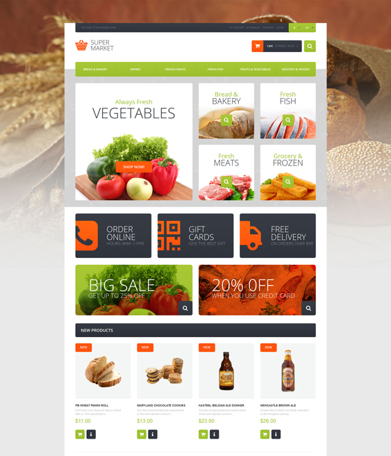 Supermarket Template food store magento themes