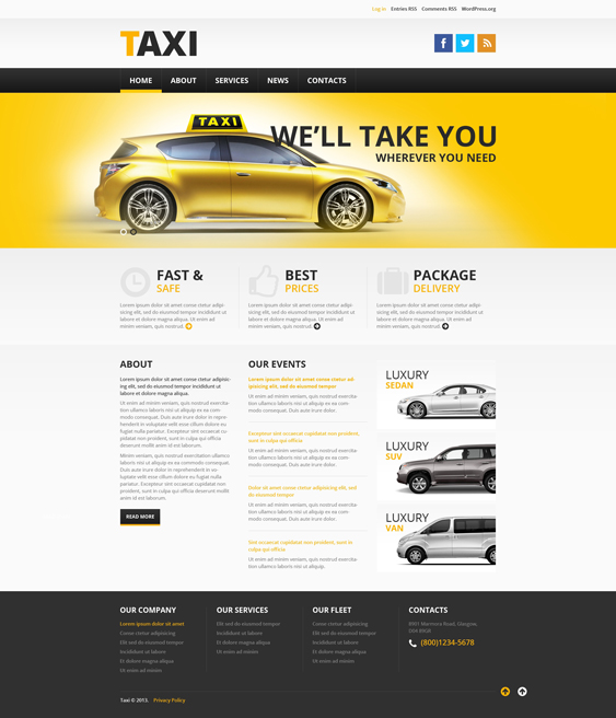 TTaxi cab Services WordPress Theme services