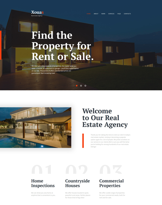 Xouas - real estate bootstrap website templates Agency Responsive