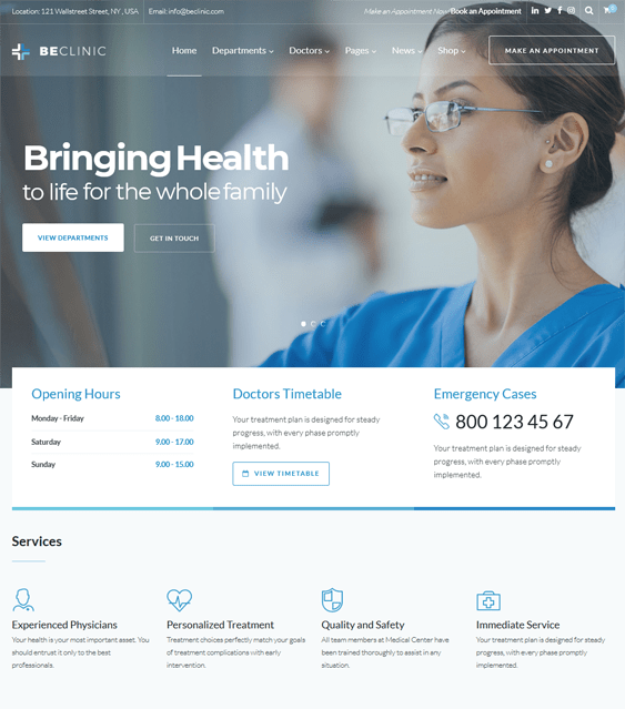 beclinic medical wordpress themes
