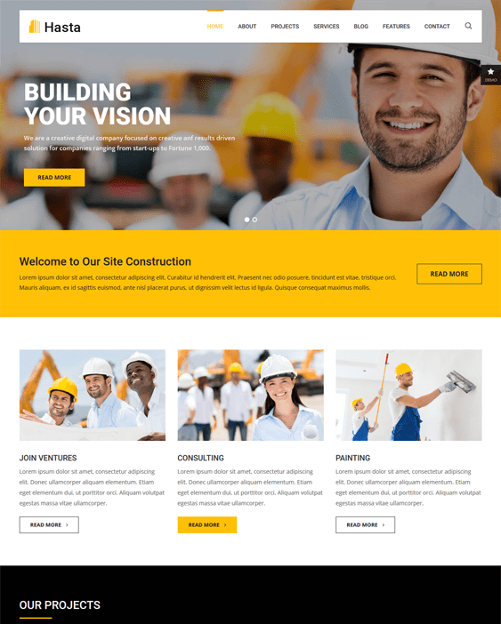 hasta construction wordpress themes