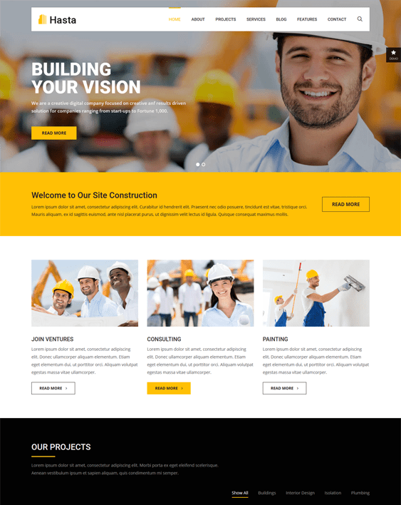 hasta wordpress themes construction company building contractor