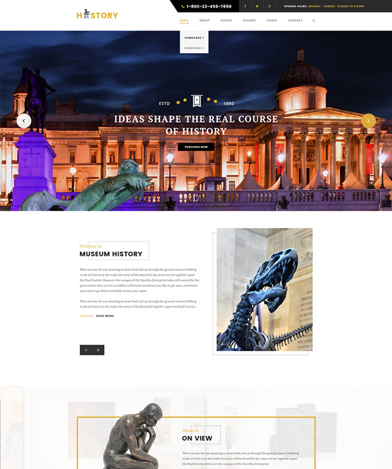 history museum wordpress themes