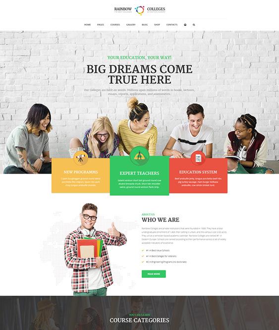 rainbow education wordpress themes schools