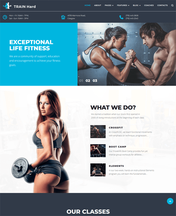 train hard gym fitness wordpress themes